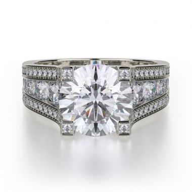 Michael M 18k White Gold Strada Diamond Straight Engagement Ring