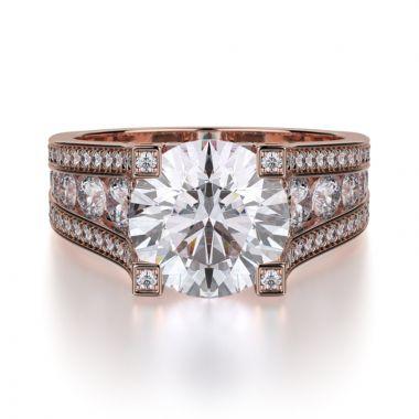 Michael M 18k Rose Gold Strada Engagement Ring