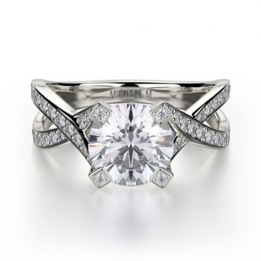 Michael M 18k White Gold Love Diamond Twisted Engagement Ring