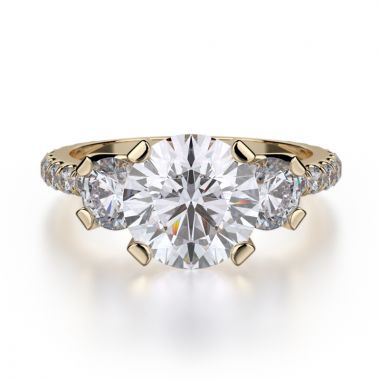 Michael M 18k Yellow Gold Trinity Engagement Ring