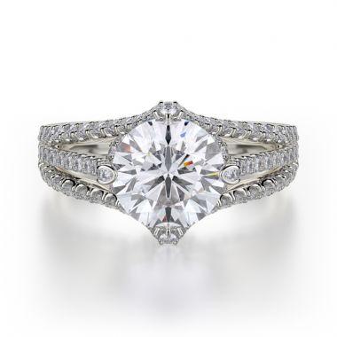 Michael M 18k White Gold Europa Engagement Ring