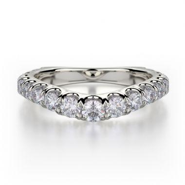 Michael M 18k White Gold Diamond Europa Curved Women's Wedding Band