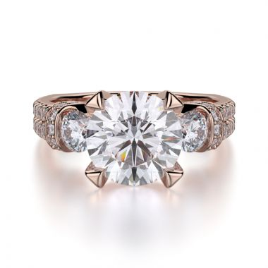 Michael M 18k Rose Gold Trinity Engagement Ring