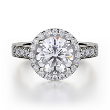 Michael M 18k White Gold Love Diamond Halo Engagement Ring