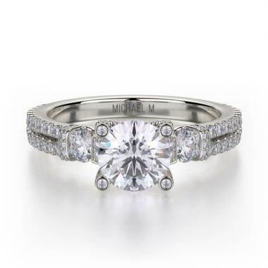 Michael M 18k White Gold Trinity Diamond Three Stone Engagement Ring