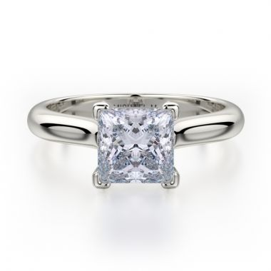 Michael M 18k White Gold Love Diamond Solitaire Engagement Ring