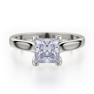 Michael M 18k White Gold Europa Diamond Solitaire Engagement Ring