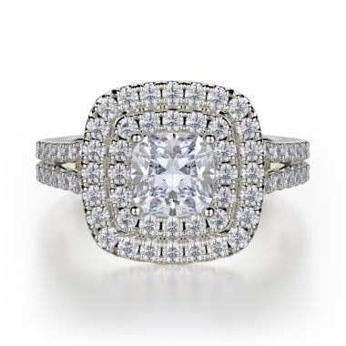 Michael M 18k White Gold Europa Diamond Double Halo Engagement Ring
