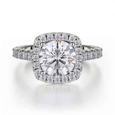 Michael M 18k White Gold Monaco Diamond Halo Engagement Ring