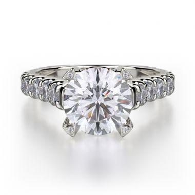 Michael M 18k White Gold Stella Engagement Ring