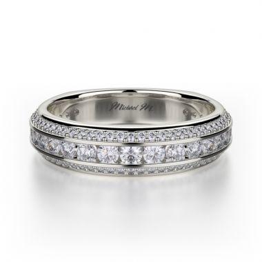 Michael M 18k White Gold Vercelli Diamond Women's Wedding Band