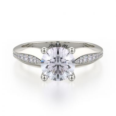Michael M 18k White Gold Love Diamond Straight Engagement Ring