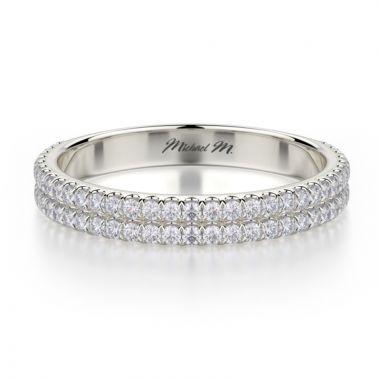 Michael M 18k White Gold Europa Diamond Women's Wedding Band