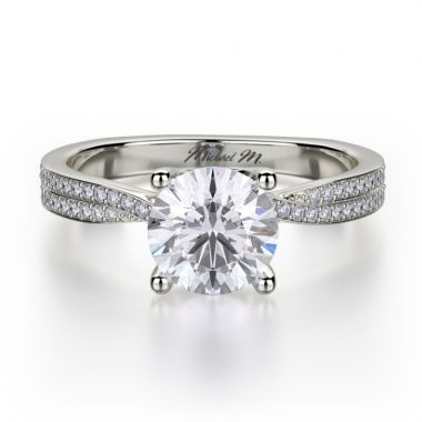 Michael M 18k White Gold Love Diamond Criss Cross Engagement Ring