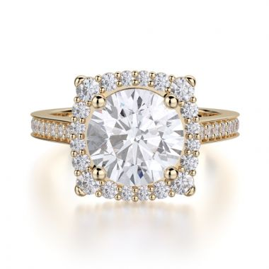 Michael M 18k Yellow Gold Love Engagement Ring