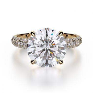 Michael M 18k Yellow Gold Crown Engagement Ring