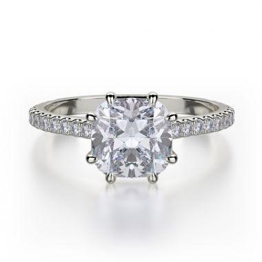 Michael M 18k White Gold Crown Engagement Ring