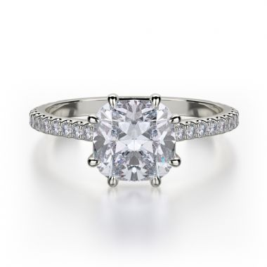 Michael M 18k White Gold Straight Engagement Ring