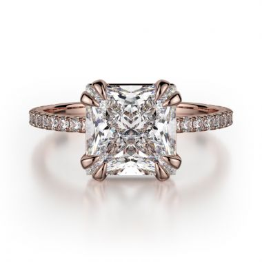 Michael M 18k Rose Gold Crown Engagement Ring