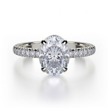 Michael M 18k White Gold Crown Diamond Straight Engagement Ring