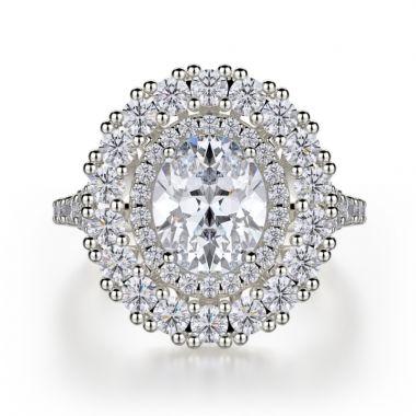 Michael M 18k White Gold Europa Diamond Double Halo Engagement Ring
