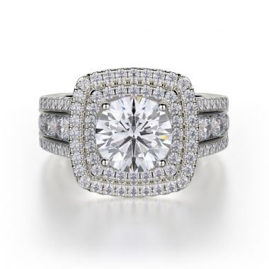 Michael M 18k White Gold Loud Diamond Double Halo Engagement Ring