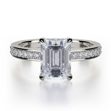 Michael M 18k White Gold Bold Engagement Ring