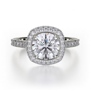 Michael M 18k White Gold Defined Diamond Halo Engagement Ring