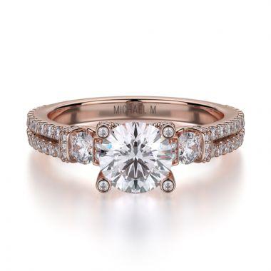 Michael M 18k Rose Gold Princess Engagement Ring