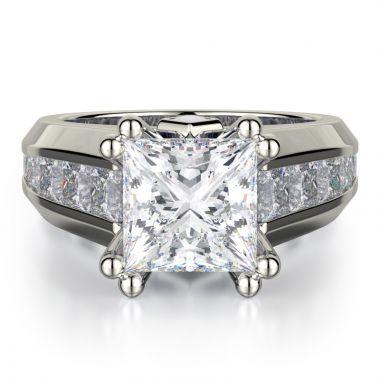Michael M 18k White Gold Princess Engagement Ring
