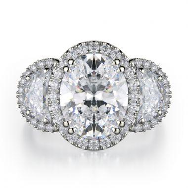 Michael M 18k White Gold Trinity Engagement Ring