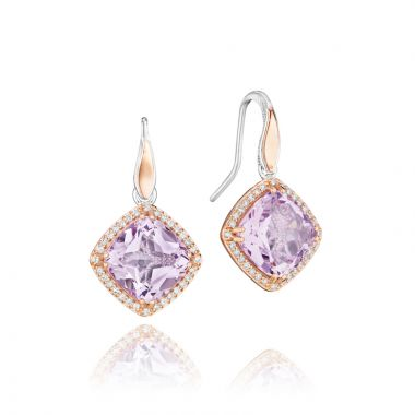 Tacori Sterling Silver and 18k Rose Gold Crescent Crown Gemstone Drop Earring