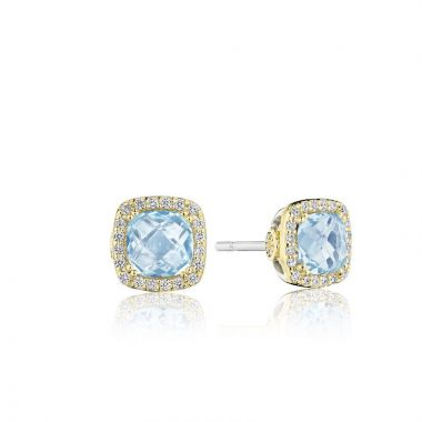 Tacori 18k Yellow Gold Crescent Crown Diamond and Gemstone Stud Earring
