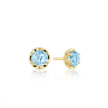Tacori 14k Yellow Gold Crescent Crown Gemstone Stud Earring