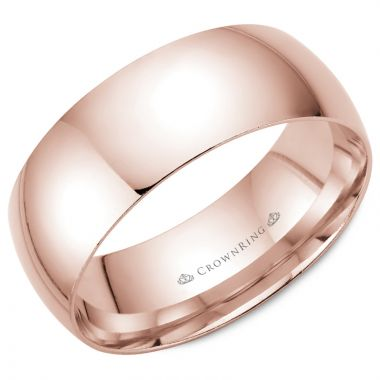 CrownRing 14k Rose Gold Traditional 8mm Wedding band