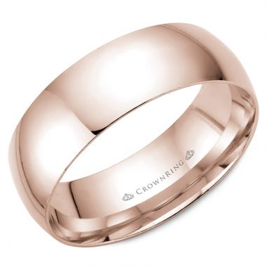 CrownRing 14k Rose Gold Traditional 7mm Wedding band