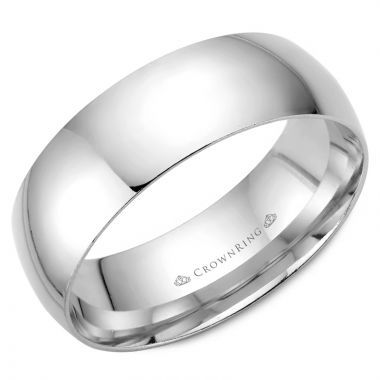 CrownRing 14k White Gold Traditional 7mm Wedding band