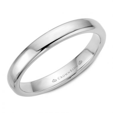 CrownRing 14k White Gold Traditional 3.5mm Wedding band