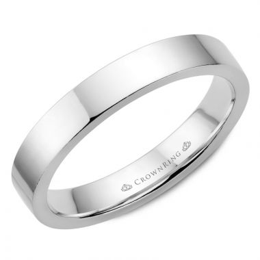 CrownRing 14k White Gold Traditional 4mm Wedding band