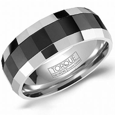 Crown Ring Black Ceramic Classic Wedding Band