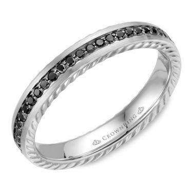 CrownRing 14k White Gold Diamond Rope 3.5mm Wedding band