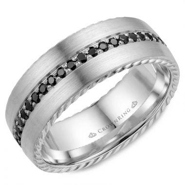 CrownRing 14k White Gold Diamond Rope 8mm Wedding band