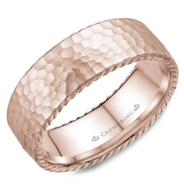 CrownRing 14k Rose Gold Rope 8mm Wedding band