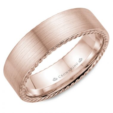 CrownRing 14k Rose Gold Rope 7mm Wedding band