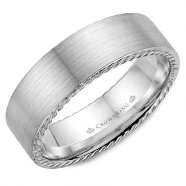 CrownRing 14k White Gold Rope 7mm Wedding band