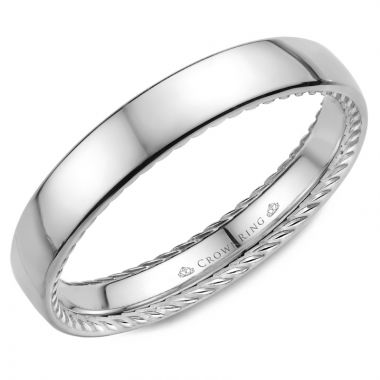 CrownRing 14k White Gold Rope 3.5mm Wedding band