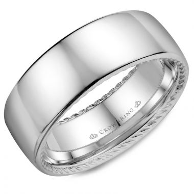 CrownRing 14k White Gold Rope 8mm Wedding band