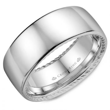 CrownRing 14k White Gold Rope Wedding band 9mm