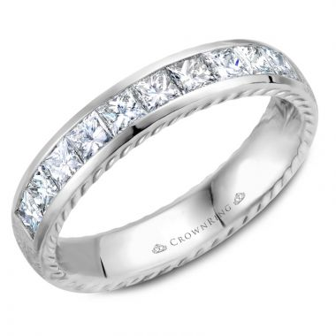 CrownRing 14k White Gold Diamond Rope 4.5mm Wedding band