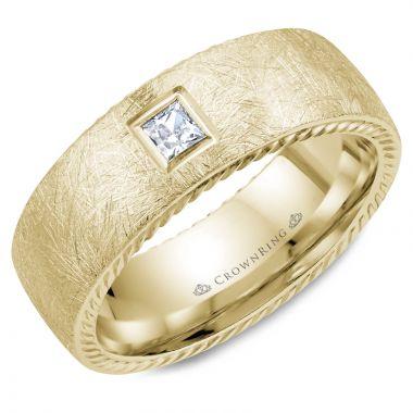 CrownRing 14k Yellow Gold Diamond Rope 8mm Wedding band